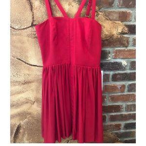 Amanda Uprichard 100% silk red dress SM
